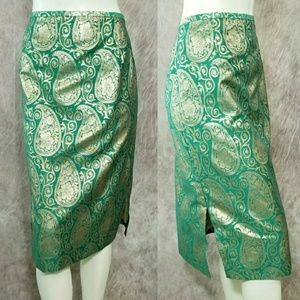 Lafayette 148 Floral Paisley Skirt Straight